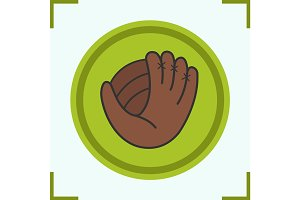 Baseball glove color icon