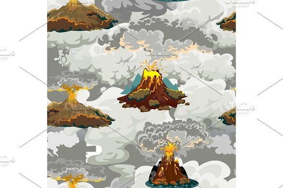 A Set Of Volcanoes Of Varying Degrees Of Eruption A Sleeping Or Awakening Dangerous Vulcan Salute From Magma Ashes And Smoke Fly Out From Volcano Lava Flowing Down The Mountain Vector Illustration