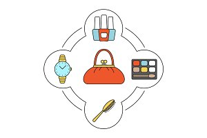 Woman's purse contents color icons set