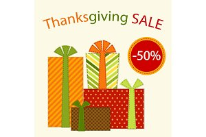 Cute retro festive present boxes with ribbons in traditional autumn colors as Thanksgiving Sale banner