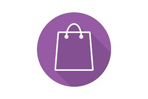 Shopping bag flat linear long shadow icon