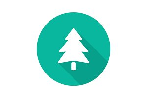 Fir tree flat design long shadow glyph icon