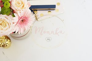 Feminine Desktop Styled Stock Photo