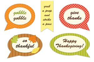 Cute set of Thanksgiving speech bubble photo booth props