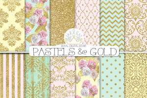GOLD DAMASK digital paper