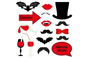 Cute set of halloween vampire photo booth props