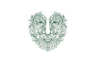Green Man Head Front Mandala