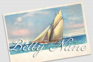 vtg greetings, sailing ship