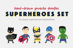 Gouache Drawing Superheroes Set