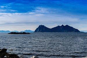 Square vivid Norway rocks fjords mountains landscape background