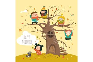 Happy children sitting on tree in autumn park