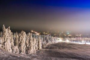 Horizontal vivid winter ski descent background backdrop