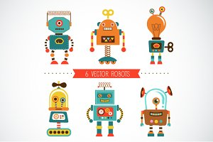 Set of 6 vintage robots + pattern