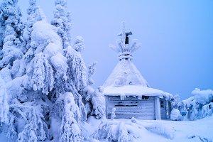 Horizontal vivid white winter Finland landscape background backd