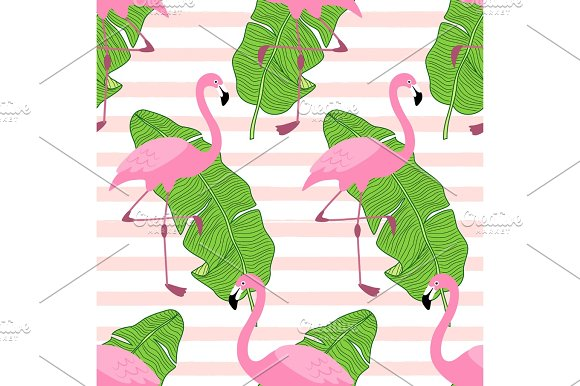 Cute Exotic Tropical Seamless Background With Cartoon Characters Of Pink Flamingos