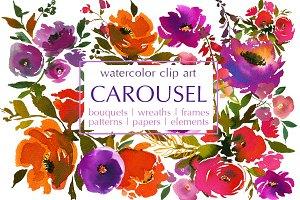 Carousel Watercolor Floral Clip Art