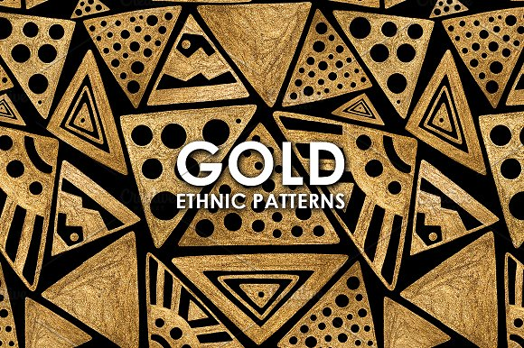 GOLD ETHNIC Patterns Hand Painted