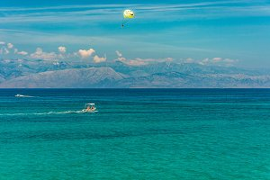 Turquoise sea and mountains