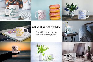 White coffee mug bundle - 8 mockups