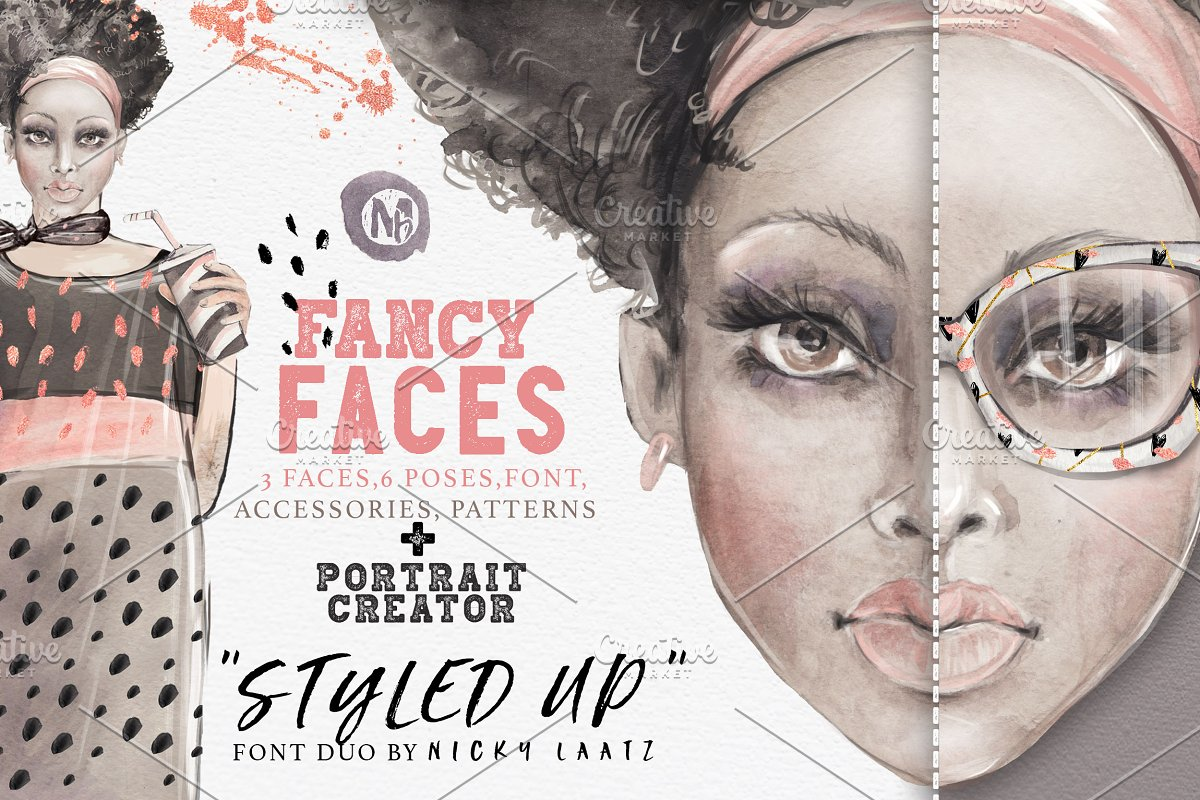 FANCY FACES ~ Illustrations ~ Creative Market