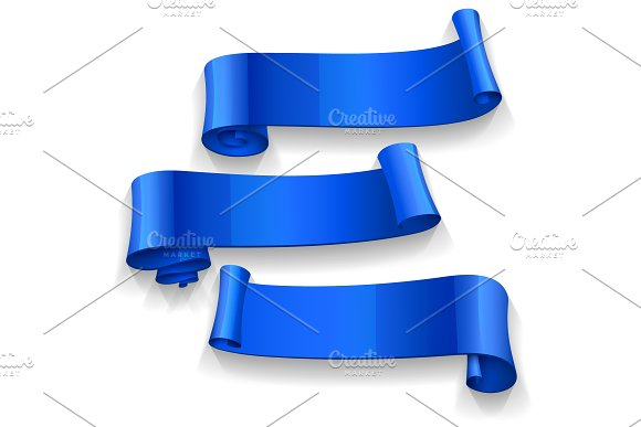 Realistic Blue Glossy Vector Ribbons