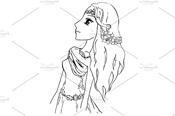 Elf Princess Girl Sketch Art Vector