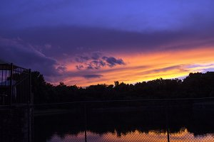 Dramatic sunset view over a lake