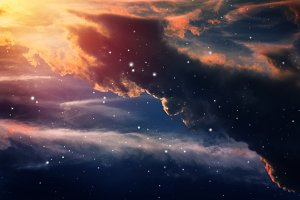 stars in night sky.