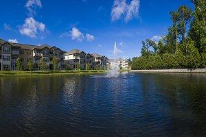 Ponds next to apartment complex