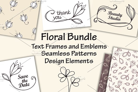 Hand Drawn Vector Floral Set