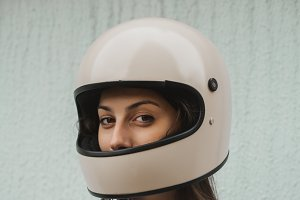 Girl in helmet