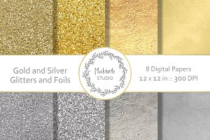 Gold Silver Glitter digital paper