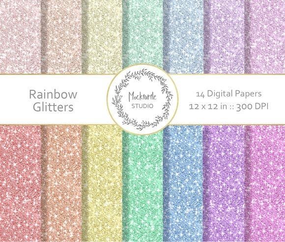 Rainbow Glitter Digital Paper