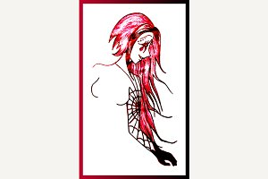 Spider girl sketch art vector