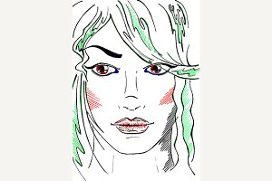 Neon fashion girl portrait vector