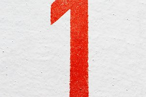 number One on old painted wall