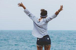 Woman on seashore
