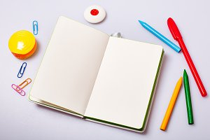 Open notepad with blank pages mockup