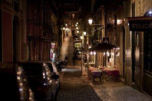 Empty night cafe in Lisbon, Portugal