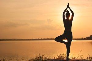 Silhouette women yoga