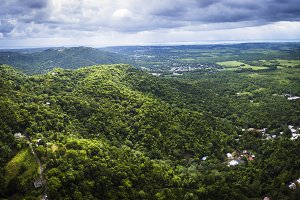 Aerial view of Puerto Rico mountains