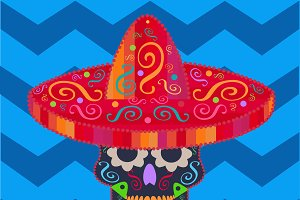 Mexican skull with sombrero icon