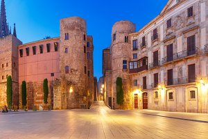 Ancient Roman Gate in morning, Barcelona, Spain