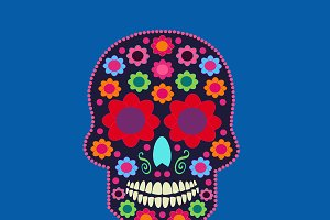 Skull icon with flowers