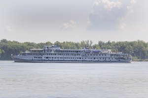 Passenger river ship on the volga River, Russia