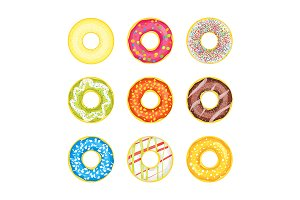 Donut Set on Background