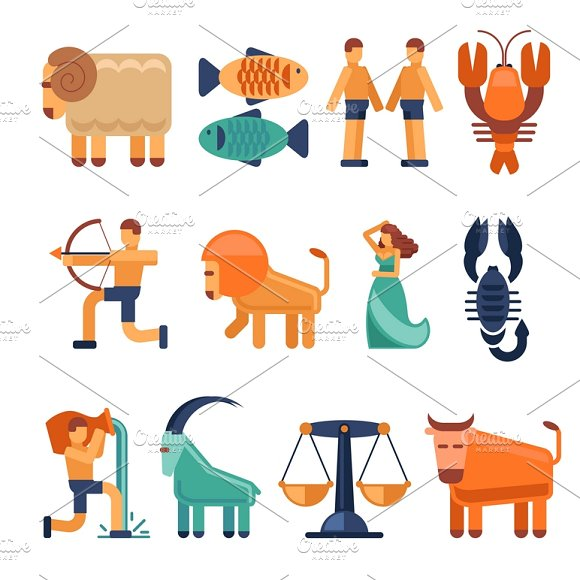 Zodiac Signs In Flat Style