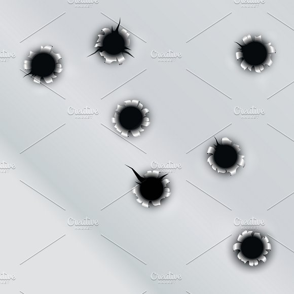 Bullet Hole Vector Set