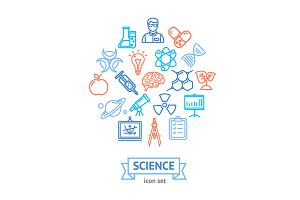 Science Research Thin Line Icon Set