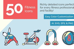 50 Customizable Fitness Icons!